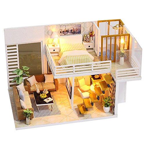 TOOGOO Diy miniatura de madera Casa de Munecas Muebles Kits Juguetes Artesania Artesanal Modelo Miniatura Kit Dollhouse Juguetes Regalo para Ninos