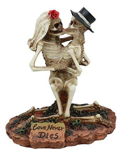 Ebros Love Stirbt Nie Hochzeit Skelett Hot Paar Petting Statue 11,4cm Hoch Tag der Toten Deko Figur Valentine Skelett Liebhaber Kuss (Bräutigam Und Braut Halloween-outfit)