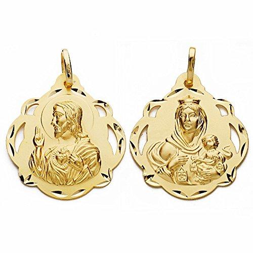 Medalla Oro 18K Escapulario 28mm Virgen Carmen Corazón Jesús [Aa2464]