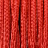 Elektrokabel 2 x oder 3 x 5 Meter rund aus Stoff Farbe Rot - 2 x 0,75 mm