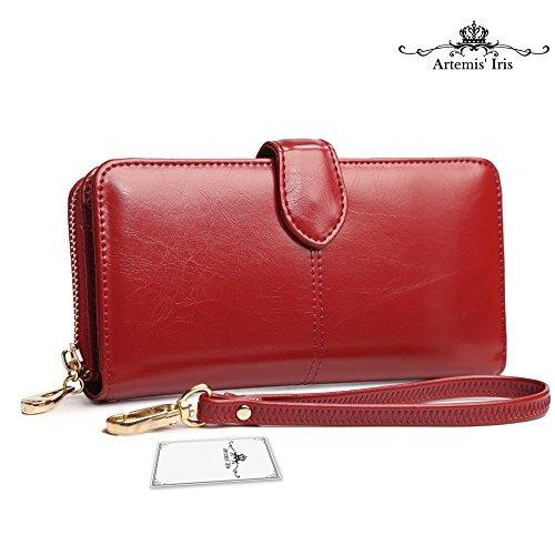 6e1d03b5c Artemis'Iris Womens Luxury Wax Leather Wallet Large Capacity Zipper Clutch  Multi Card Slots Travel