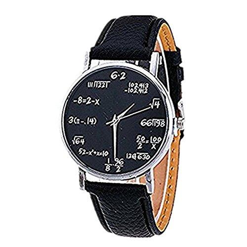 DAY.LIN Uhr Damen Uhren Mode Mädchen Muster Lederband Analog Quarz Vogue Uhren (Schwarz)