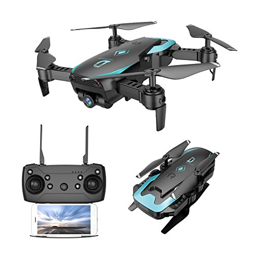 Fuibo Mini Drohne Faltbar, Höhe Halten 0.3MP HD Kamera Wifi RC Spielzeug Hubschrauber Faltbare Selfie Drone Spielzeug/ Ein-Tasten-Rückkehr / KopflosModus / Höhe-Halten (Schwarz)