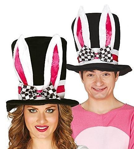 Herren Damen Schwarzer Hut mit Ohren Verrückter Hutmacher Weißen Kaninchen Alice im Wunderland Kostüm Kleid Outfit Hut - Weiß, Einheitsgröße