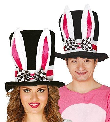 Herren Damen Schwarzer Hut mit Ohren Verrückter Hutmacher Weißen Kaninchen Alice im Wunderland Kostüm Kleid Outfit Hut - Weiß, (Alice Kind Kaninchen Im Wunderland Kostüm)