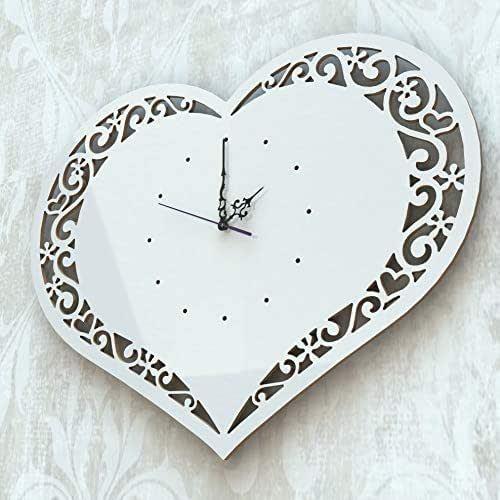 Orologio da parete muro Arredo Design Cuore Bianco Artigianale Shabby chic
