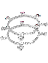 Taraash Sterling Silver Butterfly Charm Anklets For New Born Baby Girls AN1024S