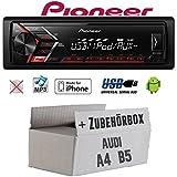 Audi A4 B5 - Autoradio Radio Pioneer MVH-S100UI - | MP3 | USB | Android | iPhone Einbauzubehör - Einbauset
