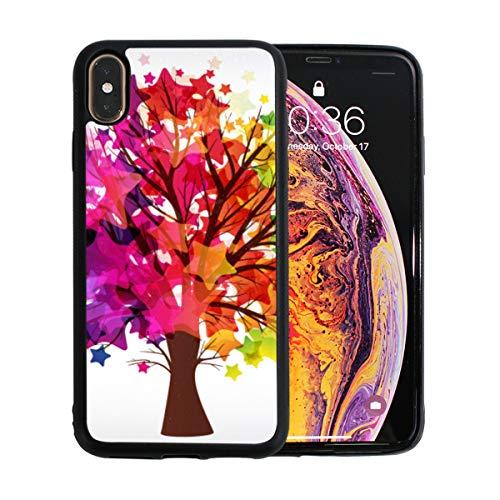 Bunter Baum mit Tinte malen Schmetterlingsapfel-Telefon Xs maximale Fall-Schirm-Schutz-Tpu-harte Abdeckung mit dünnem stoßsicherem Stoßdämpfer-Schutzfall für Apple-Telefon Xs maximales 6.5 Zoll -