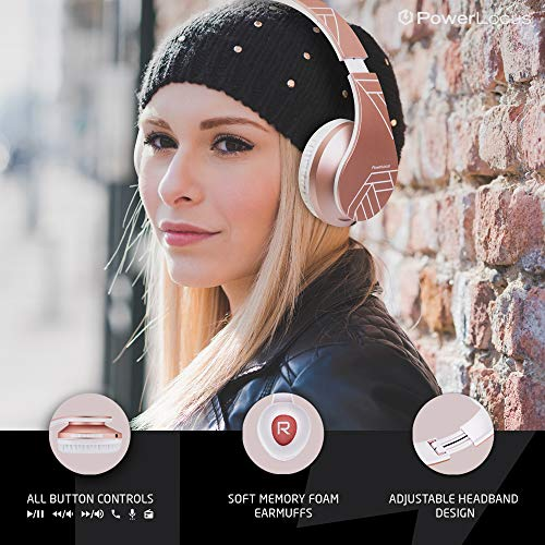 PowerLocus Bluetooth Over-Ear Kopfhörer, Kabellos Stereo Faltbare Kopfhörer Kabellose und Kabel-Kopfhörer mit Integriertem Mikrofon, Micro SD/TF, FM für Handys/iPad/Laptops & PC (Rose Gold) - 8