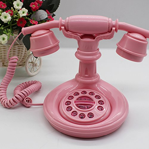 LFF.FF Weinlese-Antikes Rosa Nettes Prinzessin-Telefon-Haus mit Seil-Mode-Festnetztelefon-Dekorativen Verzierungen