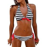 LILICAT® Conjunto de Bikini a Rayas de Mujer 2018 Parte de Arriba Bikini Cuello Hálter Acolchado Push Up + Tanga Bikini Playa de Cintura Baja, 2 PCS Traje de Baño Sexy (XL, ❤️ Negro)