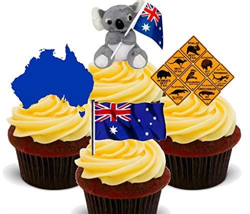 Australien Fun Pack, essbaren Kuchen Dekorationen–Stand-Up Wafer Cupcake Topper, 24er-Pack