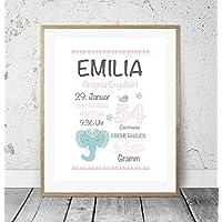 Kinderposter Geburtsanzeige Boho Elefant - Geburtsdruck mit Wunschname u. individuellen Daten f. Mädchen - personalisierte Geschenkidee zur Geburt, Taufe, Geburtstag, Wandbild - ungerahmt