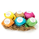 Bath Bombs Gift Set by Anjou, 6 x 3.5 Oz Bath Bombs Kit, Best for Aromatherapy, Relaxation, Moisturizing with Organic & Natural Essential Oils, Jojoba Oil and Shea Butter