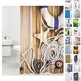 Duschvorhang, viele schöne Duschvorhänge zur Auswahl, hochwertige Qualität, inkl. 12 Ringe, wasserdicht, Anti-Schimmel-Effekt (Maritime, 180 x 180 cm)