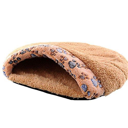 Pecute weiche warme Katzenhöhle Katzebett Schlaftasche Hundebett Haus-Welpen Schlafen Mat Schlafsack kurze Plüsch Braun