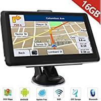 "ieleacc 7"" Zoll GPS Navigationsgerät Navi Navigation LKW PKW Bluetooth Europe Traffic Android 16GB 512MB Blitzerwarnungen POI Fahrspur- und Parkassistent lebenslang kostenlose Karte-Updates"