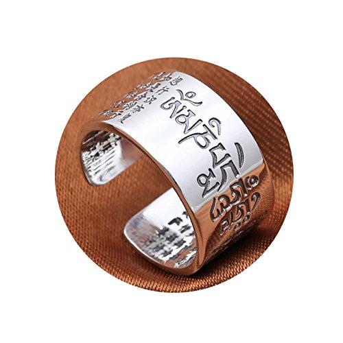 AieniD Schmuck Herren Ring 19 Silber 925 Sechs Wort Mantra Memoiren Ring Size:61 (19.4)