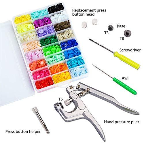Snaps Plástico T5 Botones Redondos Snap de Presión con Alicates Botones Presion para DIY Manualidades accesorios patchwork (360 Botones,24Colores)