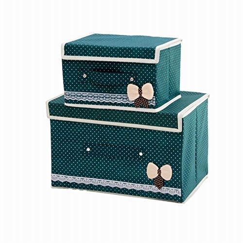 Faltbare Behälter mit Deckel, Aufbewahrungsbox Storage Cube Korb Set von 2, Polka Dot Speicher canbinet dunkelgrün (Speicher-behälter-set Mit Deckel)