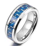 MunkiMix 8mm Wolframcarbid Wolfram Kohlenstoff Carbon Fiber Kohlefaser Band Ring Silber Ton Blau Gitter Bequeme Passform Hochzeit Größe 62 (19.7) Herren