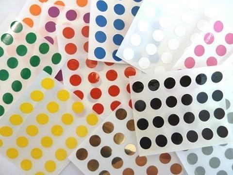 Minilabel Klebeetiketten / Klebepunkte aus Kunststoff / Vinyl, rund, selbstklebend, 9 mm Durchmesser, mehrere Farben, 456 Stück