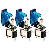Gebildet 3 pezzi Interruttore a Levetta con Luce a LED Blu, 20A 12VDC, SPST ON-OFF 2 Posizioni 3 Terminali Rocker Toggle Switch, Usato per Auto Camion Barca