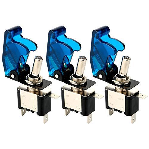 Gebildet 3pcs Kippschalter Blau LED Licht Schalter 20A 12VDC, EIN/AUS Wippschalter mit Metallhebel, SPST 3-polig Rocker Toggle Switch, zum Auto KFZ LKW Boot - 20a Toggle