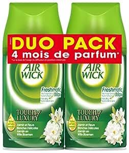 Air Wick Pack de 2 Désodorisants Recharge pour FreshMatic Jasmin et Fleurs Blanches Délicates Duo Pack