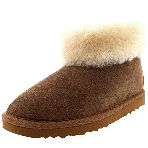 Polar Damen Echten Australischen Schaffell Dicke Manschette Pelz Gefüttert Gummi Sole Pantoffeln Stiefel - Tan - UK3/EU36 - YC0418 -