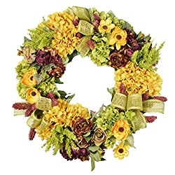 Golden Hydrangea Harvest Wreath