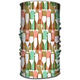 LovEUUUU Scarf Headbands Sciarpe per la Testa Sciarpa per Donna Uomo Bottiglie di Vino Occhiali Colori Vivaci Motivo Web Poster Stampa Tessile Altri Design Rosso Pastello, 25X50 cm