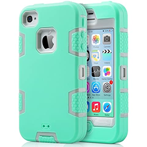 ULAK Carcasa iPhone 4S case iPhone 4 caso funda Choque hñbrida Prueba protector de silicona para el iPhone 4S de Apple iPhone 4 con Protector de pantalla(Verde menta y