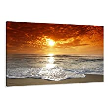 """Picture – art on canvas beach length 31,5"""" height 24"""", one-part parts model no. XXL 4038 Pictures completely framed on large frame. Art print Images realised as wall picture on real wooden framework. A canvas picture is much less expensive than an oil painting poster or placard"""