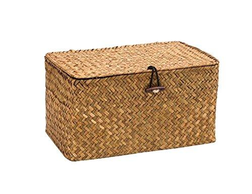 Navaris 3X Caja de Almacenamiento Tejida Juego Organizador de Cubos Cestas con Tapa para almacenaje de Objetos Ropa Cajas r/ígidas en 3 tama/ños