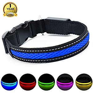 Let your dogs glow in the dark! Don't need worry about Walking with your dog in the evening, Out in the park or out camping.  MASBRILL Rechargeable Flashing LED dog collar which significantly improves the safety of your dog on dark mornings, evening ...