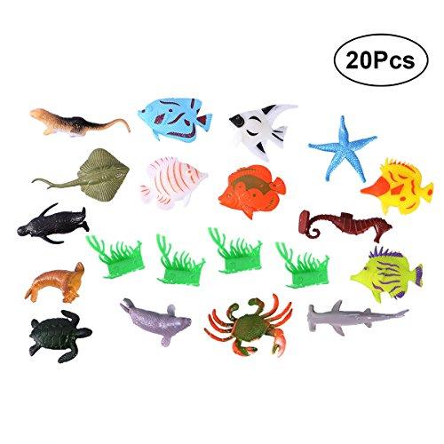 YeahiBaby Tierfiguren Meerestiere Figuren Set Miniatur Fische Mitgebsel Kindergeburtstag für Baby Kinder 2 Zoll 16 Stücke