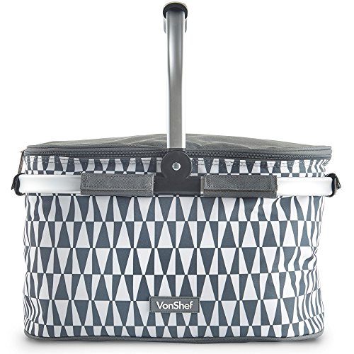 VonShef Geo Grey 22L Cooler Hamper Bag - Aluminium Insulated Cooler with Collapsible Handle