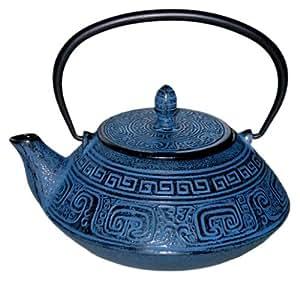 beka 16409144 th i re en fonte coloris bleu tous feux induction avec tamis cuisine. Black Bedroom Furniture Sets. Home Design Ideas