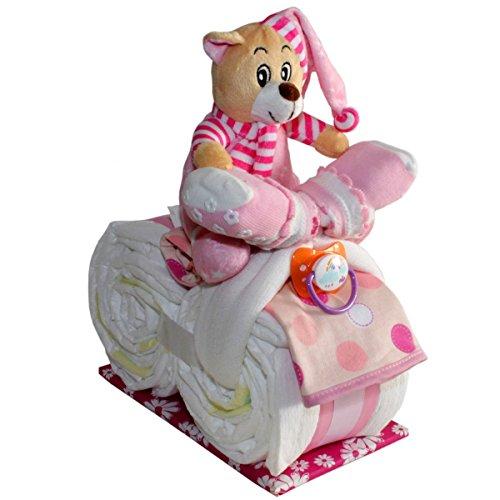 """Kleines Windelmotorrad""""Sophia"""" -21tlg.- für Mädchen Geschenk zur Geburt Taufe Windeltorte (Rosa)"""