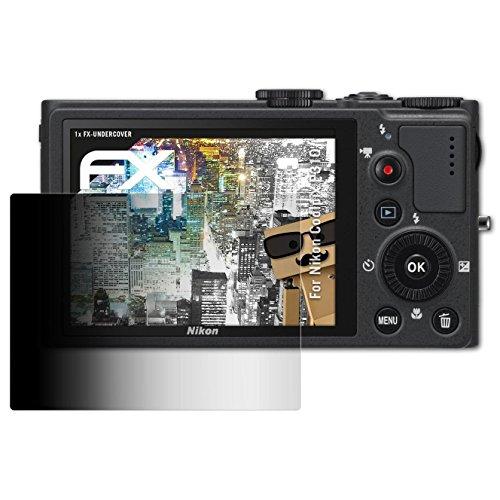 atFoliX Blickschutzfilter kompatibel mit Nikon Coolpix P310 Blickschutzfolie, 4-Wege Sichtschutz FX Schutzfolie