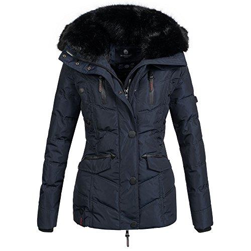 Mari Koo calda giacca invernale da donna giacca invernale giacca trapuntata pelliccia Teddy B396 Blau M
