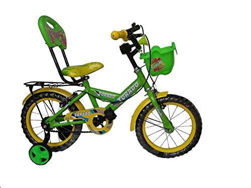 Torado Buzz 14 Inches Bicycle for 2-5 Years Boys and Girls with Basket (Green)