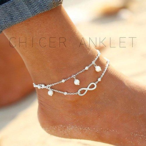 Simsly Bracelet de cheville tendance pour la plage avec perle synthétique Ajustable Pour femme et fille
