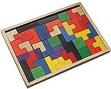 Woru Buntes Lege-Puzzle aus Holz, Konzentrations-Spiel für Kinder und Erwachsene, Größe ca. 24,5 cm x 17 cm x 1,7 cm