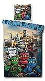 Ninjago Motiv Bettwäsche 135x200 cm + Kissen 80x80 cm Lego Kinder-Bettwäsche Jungen 100% Baumwolle, Linon