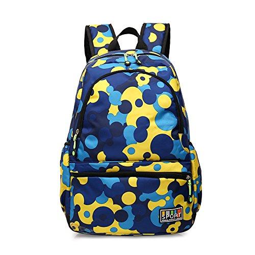 Esterno in nylon per il tempo libero zaino sportivo impermeabile doppia corsa borsa a tracolla 45*30*18cm, cerchio blu Blue cerchio giallo