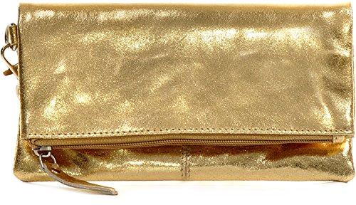 CNTMP, Damen Handtaschen, Clutch, Clutches, Clutchbags, Unterarmtaschen, Partybags, Trend-Bags, Metallic, Leder Tasche, 21x11x2,5cm (B x H x T), Farbe:Gold (Gold Abend Tasche)