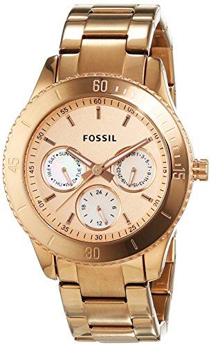 Fossil Ladies Rose Gold Ip Multi-Eye Analogue Stella Watch - Es2859